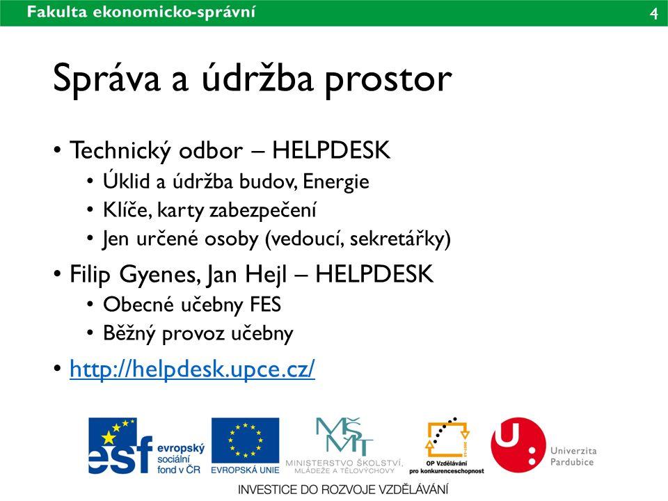 5 Přístupová práva do prostor Klíče Přístupy na kartu Fakultní prostory Prostory UNIT Aktivace přes systém HELPDESK