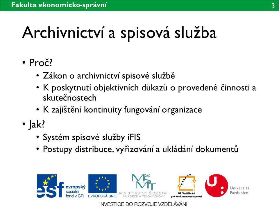 3 Archivnictví a spisová služba Proč? Zákon o archivnictví spisové službě K poskytnutí objektivních důkazů o provedené činnosti a skutečnostech K zaji