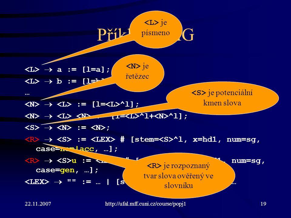 22.11.2007http://ufal.mff.cuni.cz/course/popj119 Příklad UMG  a := [l=a];  b := [l=b]; …  := [l= ^l];  := [l= ^l+ ^l];  := ;  := # [stem= ^l, x=hd1, num=sg, case=nom acc, …];  u := # [stem= ^l, x=hd1, num=sg, case=gen, …];  := …   [stem=hrad, x=hd1, …]   … je písmeno je řetězec je potenciální kmen slova je rozpoznaný tvar slova ověřený ve slovníku