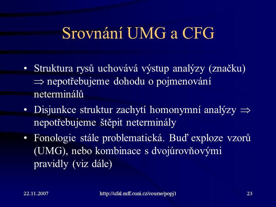 22.11.2007http://ufal.mff.cuni.cz/course/popj123 Srovnání UMG a CFG Struktura rysů uchovává výstup analýzy (značku)  nepotřebujeme dohodu o pojmenování neterminálů Disjunkce struktur zachytí homonymní analýzy  nepotřebujeme štěpit neterminály Fonologie stále problematická.