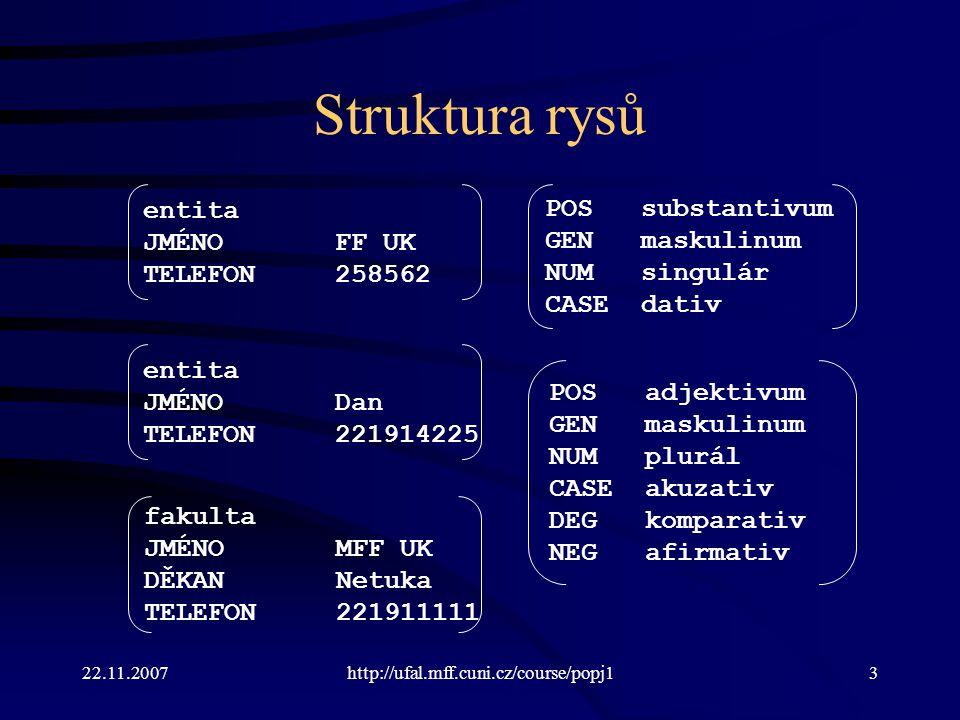 22.11.2007http://ufal.mff.cuni.cz/course/popj14 Struktura rysů Obecně: parciální funkce z množiny rysů do množiny hodnot.