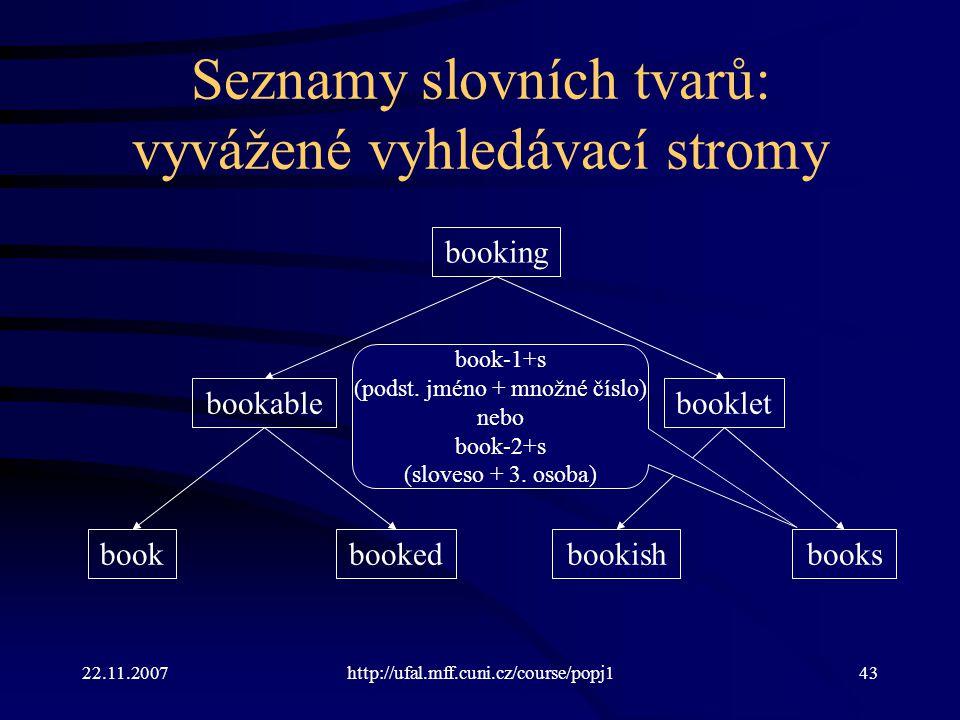 22.11.2007http://ufal.mff.cuni.cz/course/popj143 Seznamy slovních tvarů: vyvážené vyhledávací stromy bookbooks bookable booking bookedbookish booklet