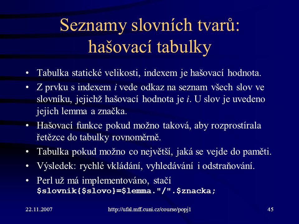 22.11.2007http://ufal.mff.cuni.cz/course/popj145 Seznamy slovních tvarů: hašovací tabulky Tabulka statické velikosti, indexem je hašovací hodnota.