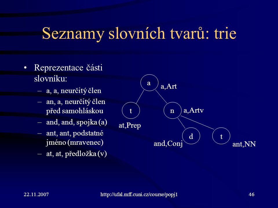 22.11.2007http://ufal.mff.cuni.cz/course/popj146 Seznamy slovních tvarů: trie Reprezentace části slovníku: –a, a, neurčitý člen –an, a, neurčitý člen před samohláskou –and, and, spojka (a) –ant, ant, podstatné jméno (mravenec) –at, at, předložka (v) t t a n d at,Prep a,Art a,Artv ant,NN and,Conj