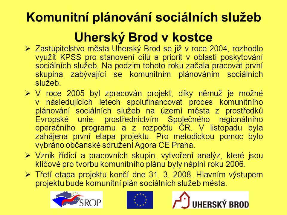 Komunitní plánování sociálních služeb Uherský Brod v kostce  Zastupitelstvo města Uherský Brod se již v roce 2004, rozhodlo využít KPSS pro stanovení