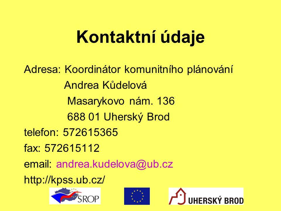 Kontaktní údaje Adresa: Koordinátor komunitního plánování Andrea Kůdelová Masarykovo nám. 136 688 01 Uherský Brod telefon: 572615365 fax: 572615112 em