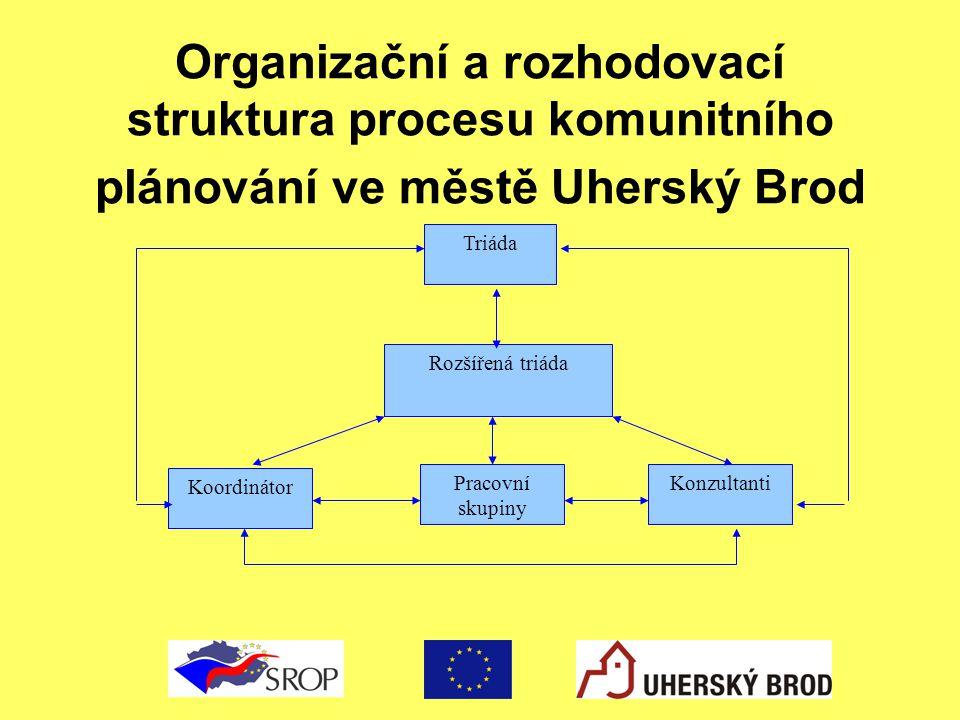 Organizační a rozhodovací struktura procesu komunitního plánování ve městě Uherský Brod Koordinátor Pracovní skupiny Konzultanti Rozšířená triáda Triá