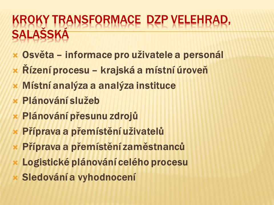  Osvěta – informace pro uživatele a personál  Řízení procesu – krajská a místní úroveň  Místní analýza a analýza instituce  Plánování služeb  Plá