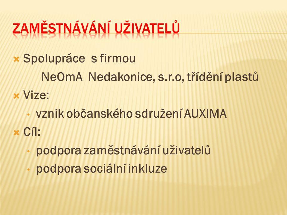  Spolupráce s firmou NeOmA Nedakonice, s.r.o, třídění plastů  Vize: vznik občanského sdružení AUXIMA  Cíl: podpora zaměstnávání uživatelů podpora s