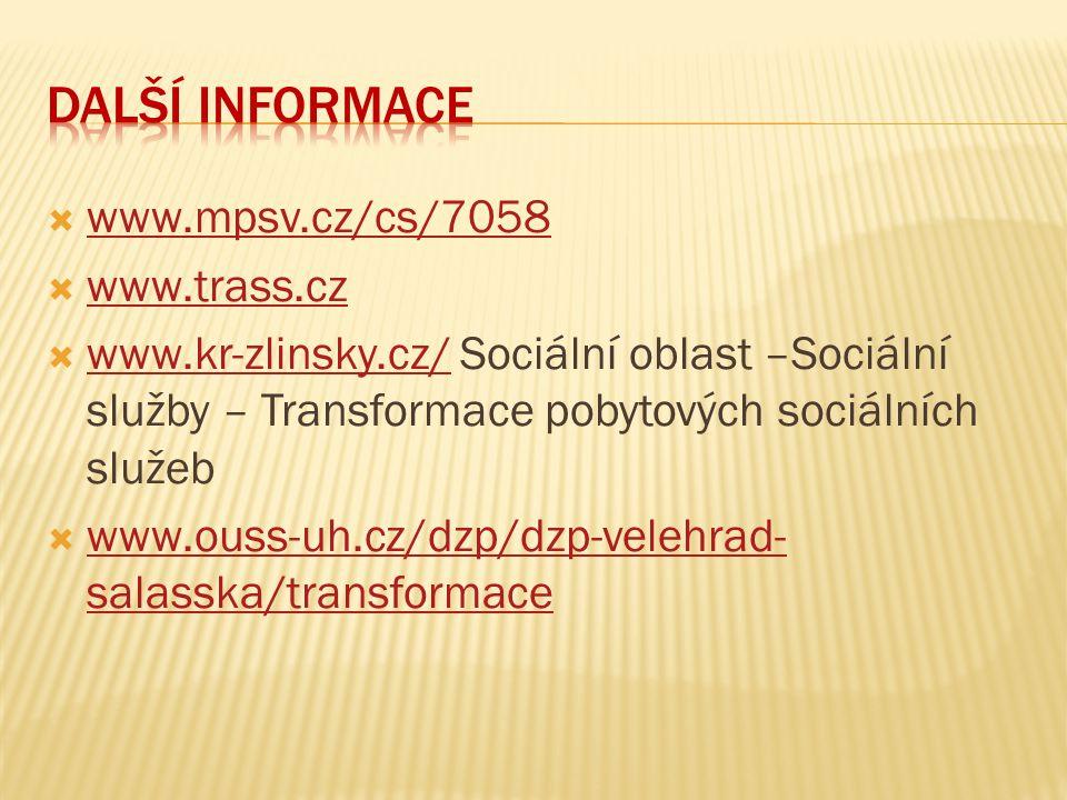  www.mpsv.cz/cs/7058 www.mpsv.cz/cs/7058  www.trass.cz www.trass.cz  www.kr-zlinsky.cz/ Sociální oblast –Sociální služby – Transformace pobytových
