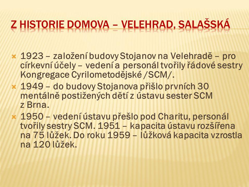  1923 – založení budovy Stojanov na Velehradě – pro církevní účely – vedení a personál tvořily řádové sestry Kongregace Cyrilometodějské /SCM/.  194