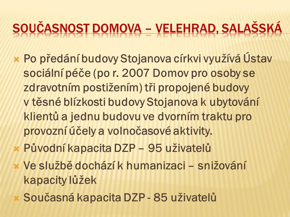  Po předání budovy Stojanova církvi využívá Ústav sociální péče (po r. 2007 Domov pro osoby se zdravotním postižením) tři propojené budovy v těsné bl