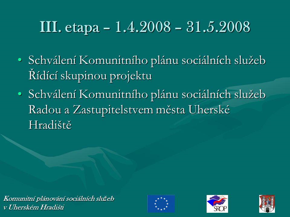 III. etapa – 1.4.2008 – 31.5.2008 Schválení Komunitního plánu sociálních služeb Řídící skupinou projektuSchválení Komunitního plánu sociálních služeb