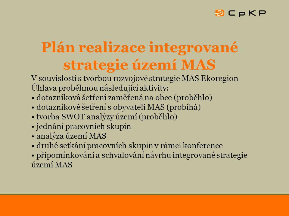 Plán realizace integrované strategie území MAS V souvislosti s tvorbou rozvojové strategie MAS Ekoregion Úhlava proběhnou následující aktivity: dotazníková šetření zaměřená na obce (proběhlo) dotazníkové šetření s obyvateli MAS (probíhá) tvorba SWOT analýzy území (proběhlo) jednání pracovních skupin analýza území MAS druhé setkání pracovních skupin v rámci konference připomínkování a schvalování návrhu integrované strategie území MAS