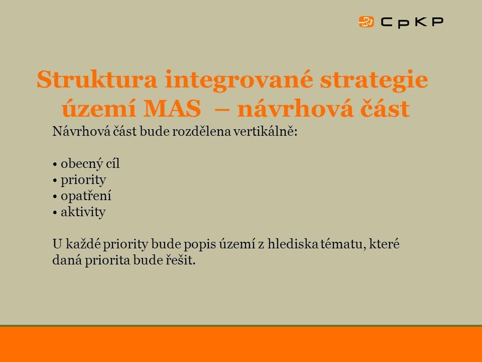 Struktura integrované strategie území MAS – implementační část Implementační část bude řešit naplňování priorit rozvojové strategie z hlediska: finančních zdrojů personálních zdrojů organizačních, řídících, administrativních postupů hodnocení a monitorování naplňování priorit naplňování principů místního partnerství