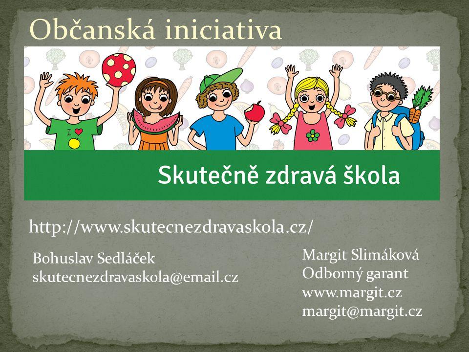Občanská iniciativa http://www.skutecnezdravaskola.cz/ Bohuslav Sedláček skutecnezdravaskola@email.cz Margit Slimáková Odborný garant www.margit.cz margit@margit.cz