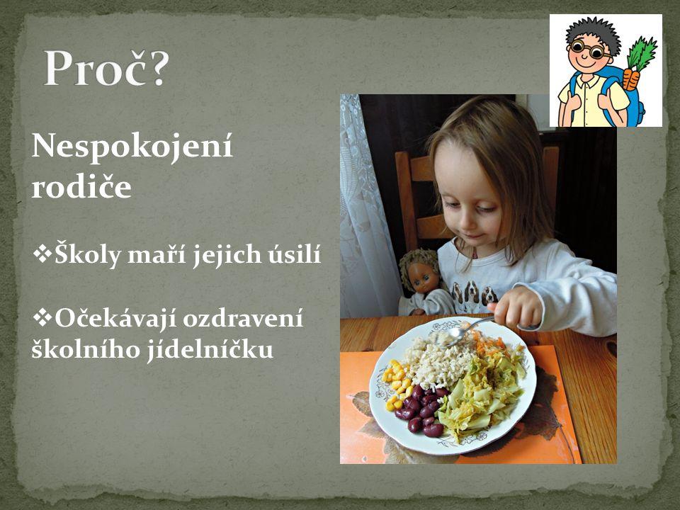 Nespokojení rodiče  Školy maří jejich úsilí  Očekávají ozdravení školního jídelníčku