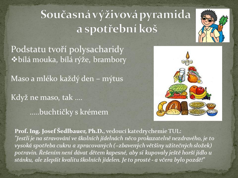 Podstatu tvoří polysacharidy  bílá mouka, bílá rýže, brambory Maso a mléko každý den – mýtus Když ne maso, tak ….