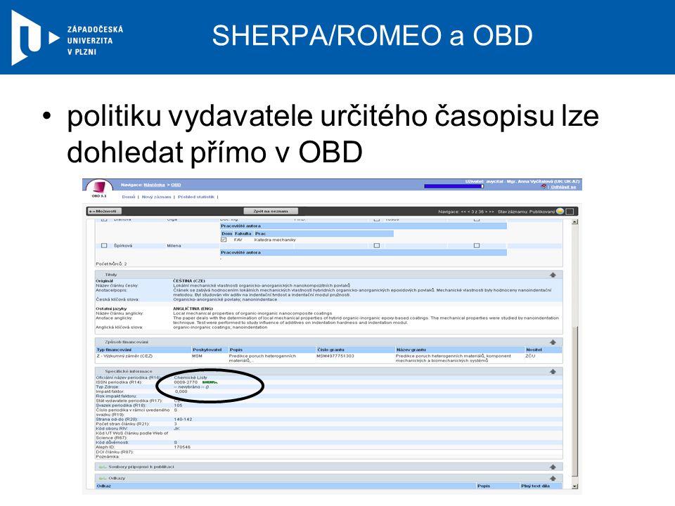 SHERPA/ROMEO a OBD politiku vydavatele určitého časopisu lze dohledat přímo v OBD