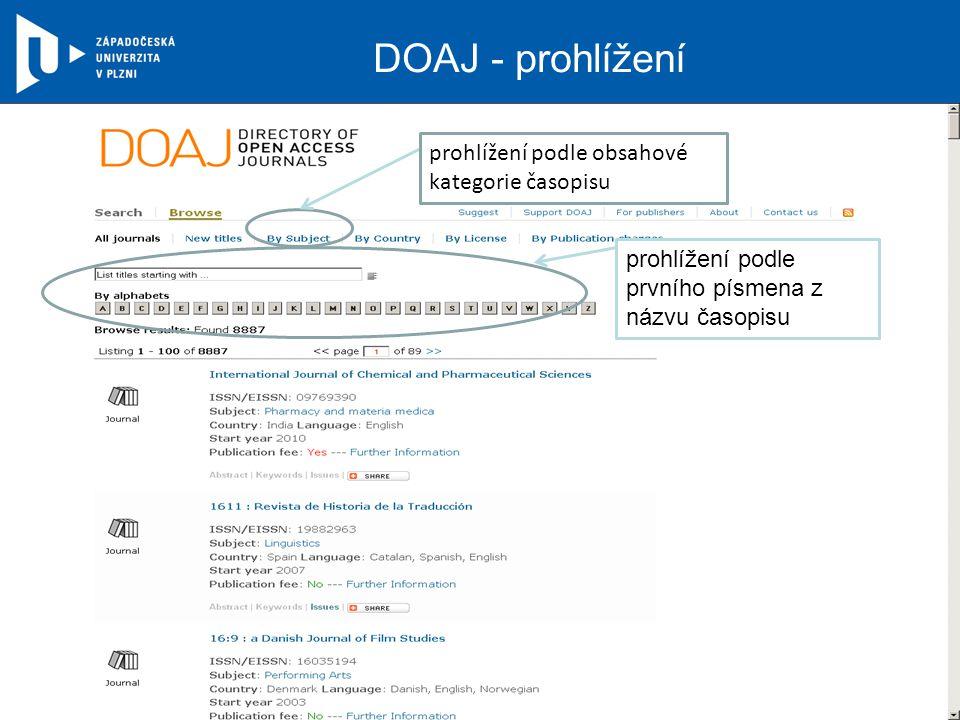 DOAJ - prohlížení prohlížení podle prvního písmena z názvu časopisu prohlížení podle obsahové kategorie časopisu