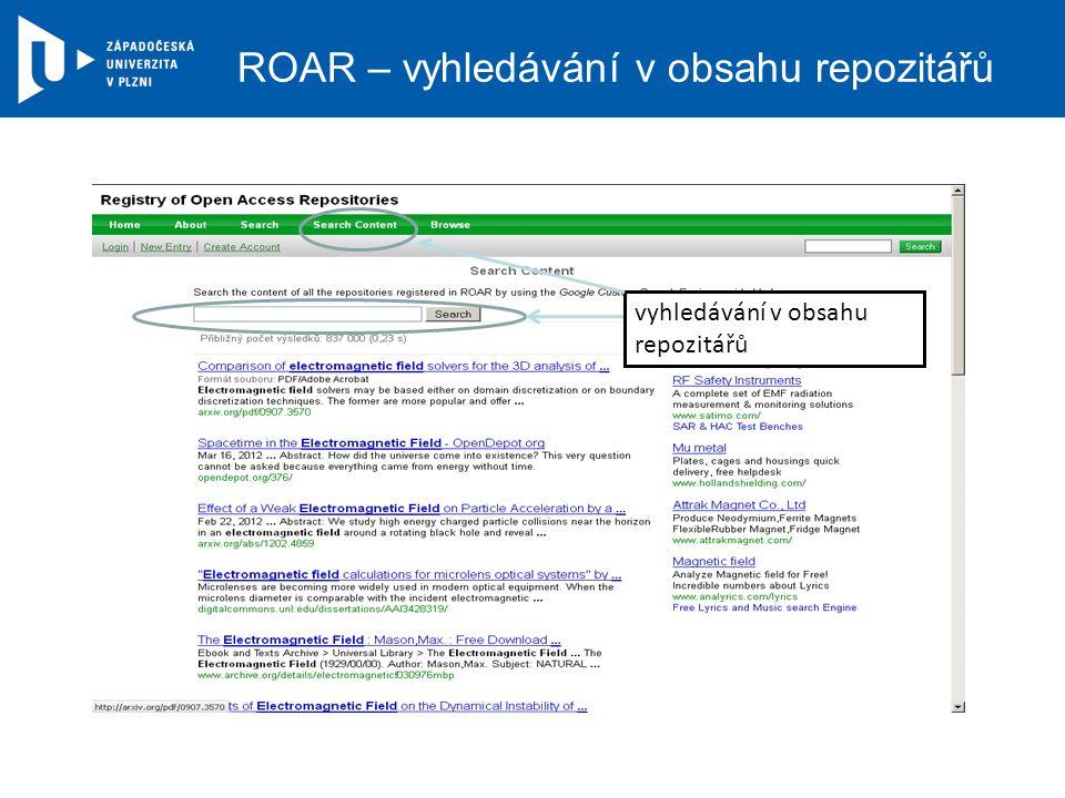 ROAR – vyhledávání v obsahu repozitářů vyhledávání v obsahu repozitářů