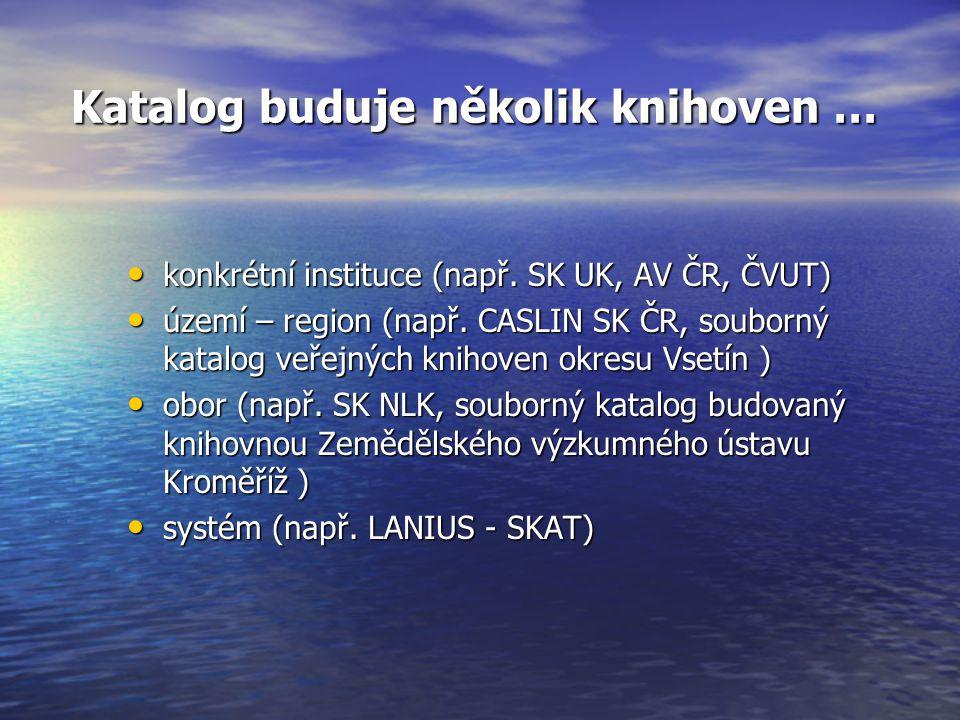 Katalog buduje několik knihoven … Katalog buduje několik knihoven … konkrétní instituce (např.