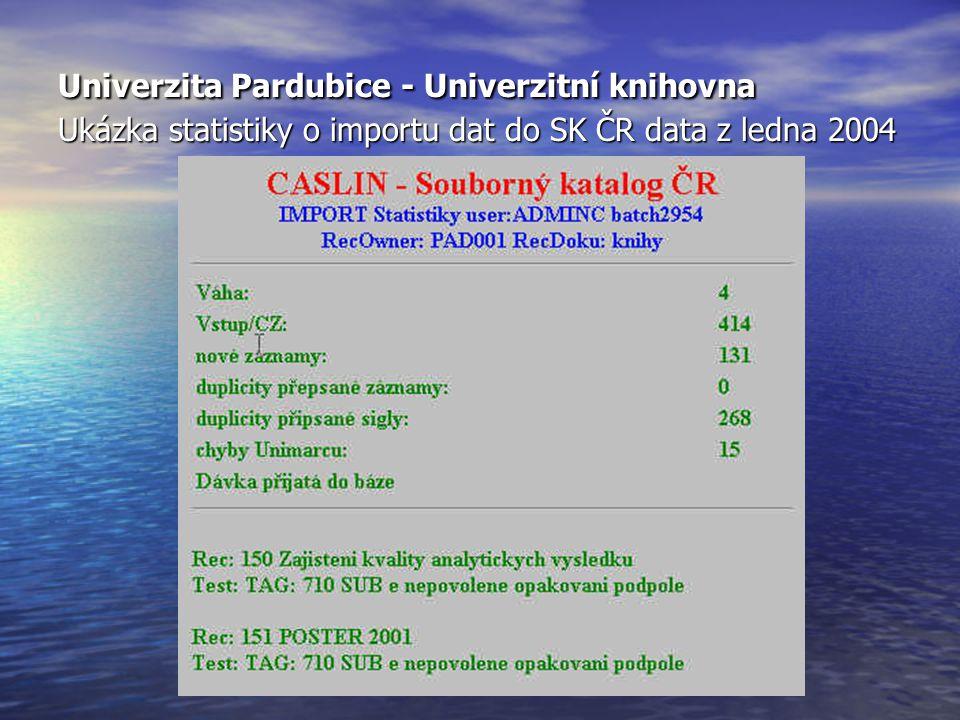 Univerzita Pardubice - Univerzitní knihovna Ukázka statistiky o importu dat do SK ČR data z ledna 2004