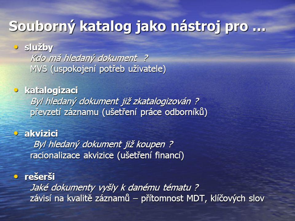 Souborný katalog jako nástroj pro … služby služby Kdo má hledaný dokument ? Kdo má hledaný dokument ? MVS (uspokojení potřeb uživatele) MVS (uspokojen
