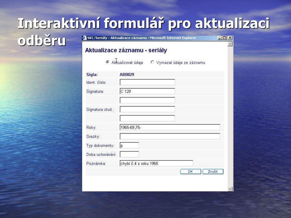 Interaktivní formulář pro aktualizaci odběru