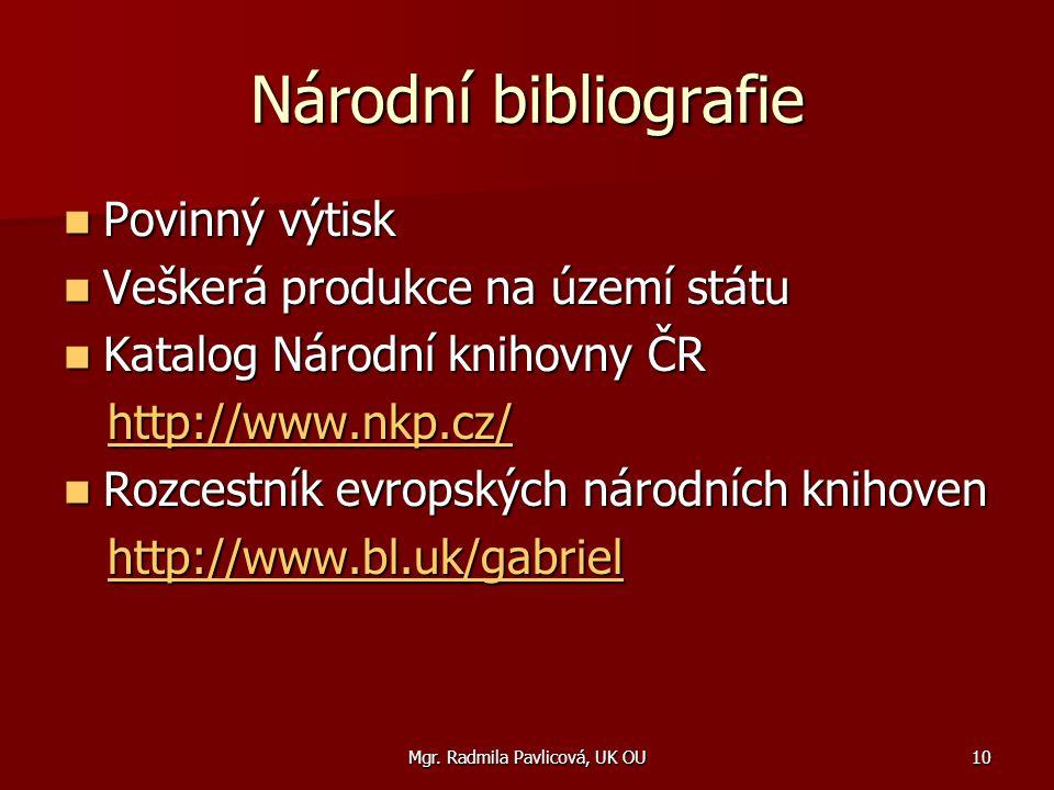 Mgr. Radmila Pavlicová, UK OU10 Národní bibliografie Povinný výtisk Povinný výtisk Veškerá produkce na území státu Veškerá produkce na území státu Kat