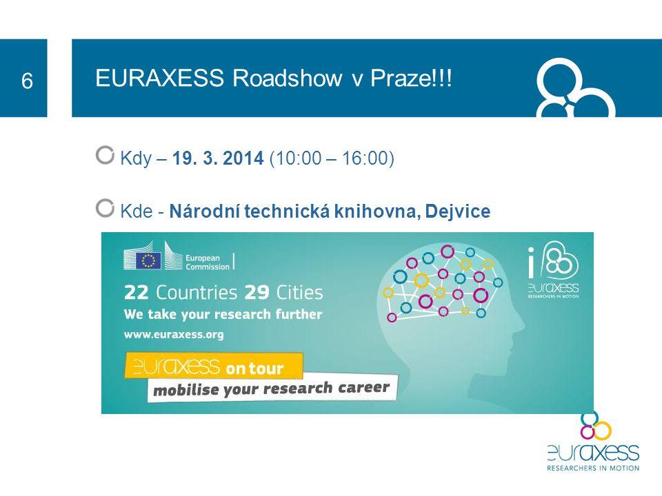 EURAXESS Roadshow v Praze!!. Kdy – 19. 3.