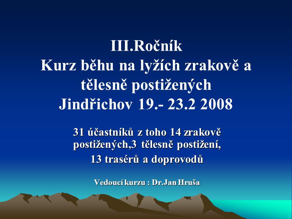 III.Ročník Kurz běhu na lyžích zrakově a tělesně postižených Jindřichov 19.- 23.2 2008 31 účastníků z toho 14 zrakově postižených,3 tělesně postižení,