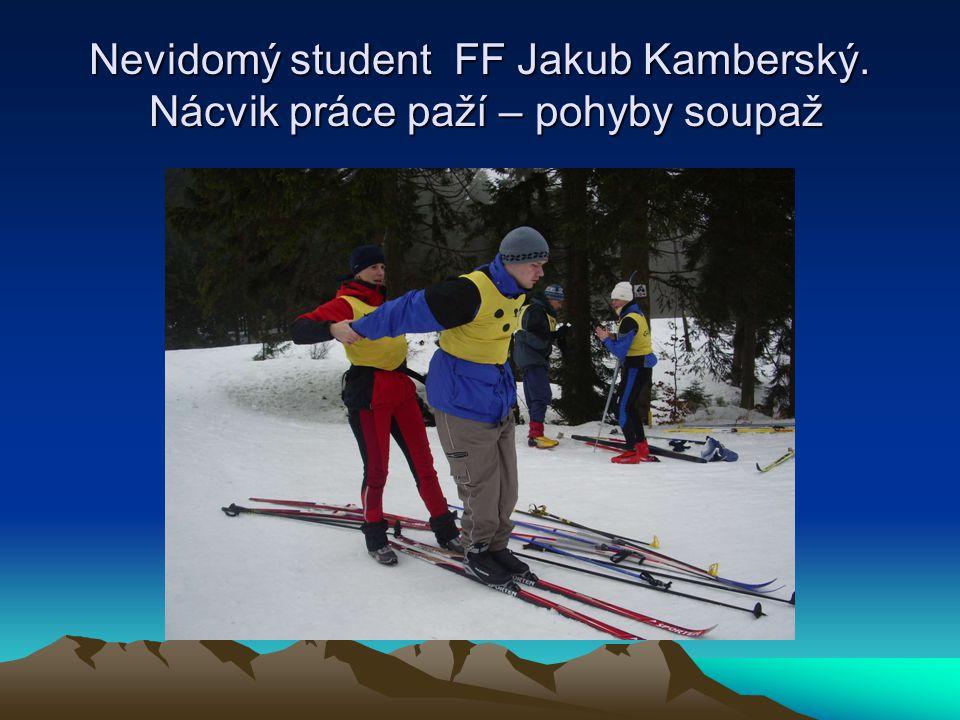 Nevidomý student FF Jakub Kamberský. Nácvik práce paží – pohyby soupaž