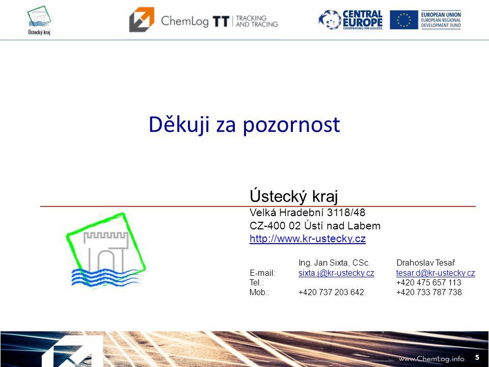 5 L Děkuji za pozornost Ústecký kraj Velká Hradební 3118/48 CZ-400 02 Ústí nad Labem http://www.kr-ustecky.cz Ing.