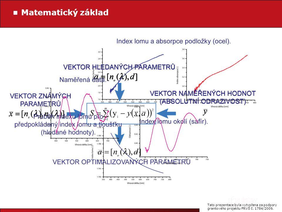 Tato prezentace byla vytvořena za podpory grantového projektu FRVŠ č. 1784/2009. Matematický základ