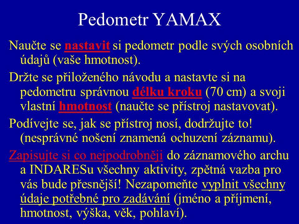 Pedometr YAMAX Naučte se nastavit si pedometr podle svých osobních údajů (vaše hmotnost).