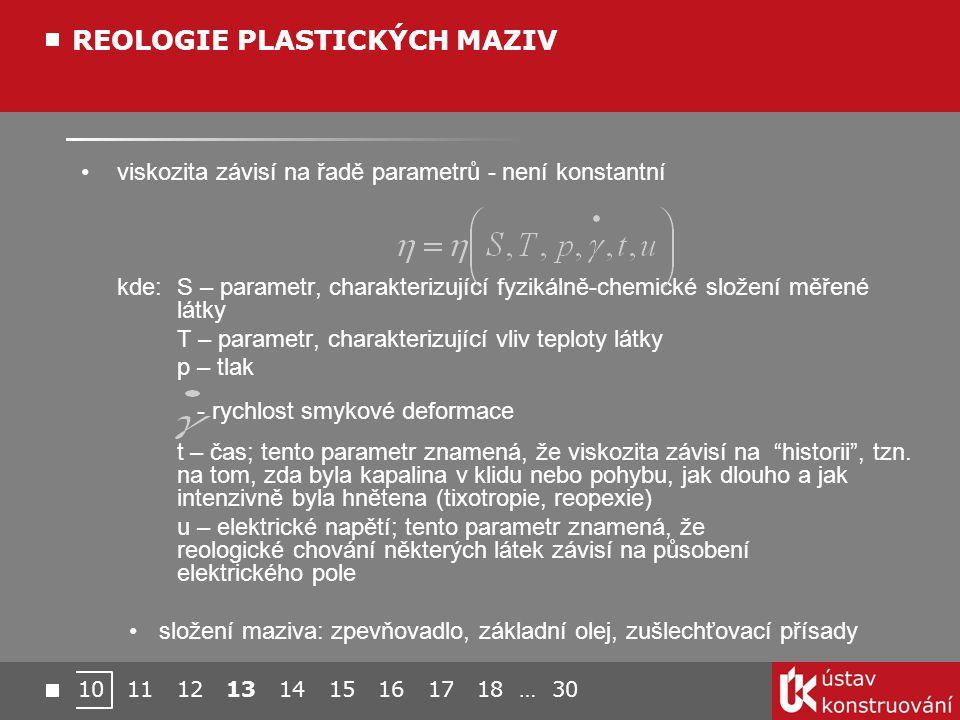viskozita závisí na řadě parametrů - není konstantní kde: S – parametr, charakterizující fyzikálně-chemické složení měřené látky T – parametr, charakterizující vliv teploty látky p – tlak - rychlost smykové deformace t – čas; tento parametr znamená, že viskozita závisí na historii , tzn.