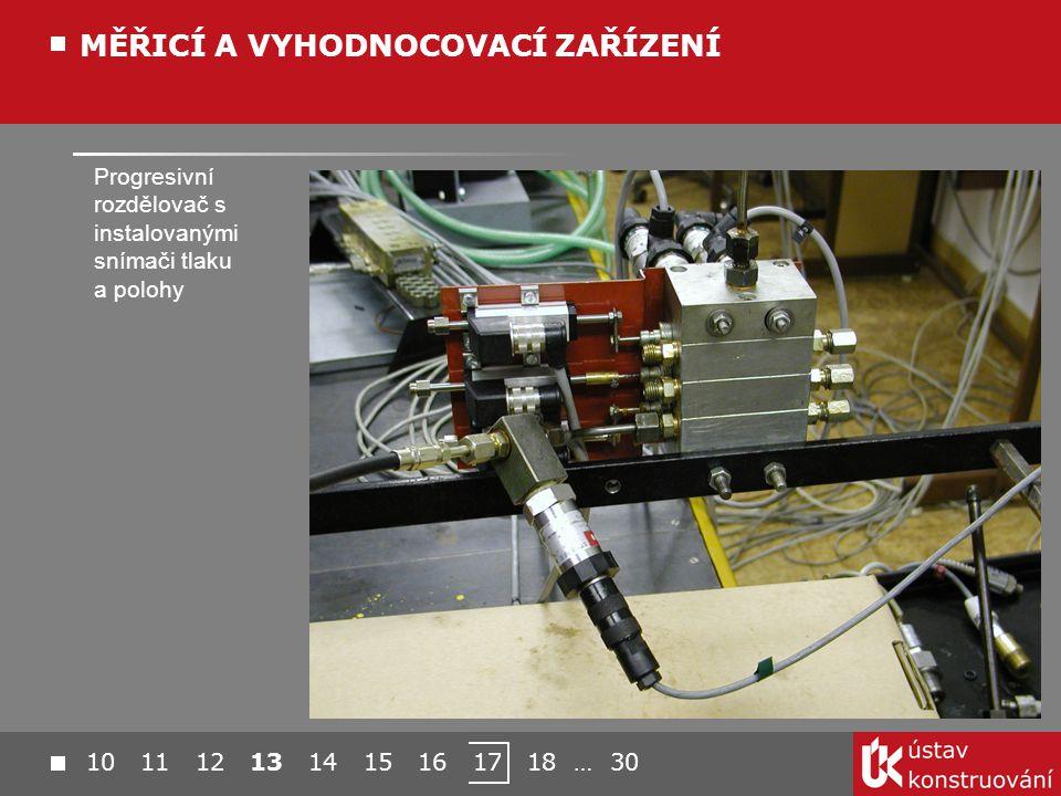 Progresivní rozdělovač s instalovanými snímači tlaku a polohy MĚŘICÍ A VYHODNOCOVACÍ ZAŘÍZENÍ 10 11 12 13 14 15 16 17 18 … 30