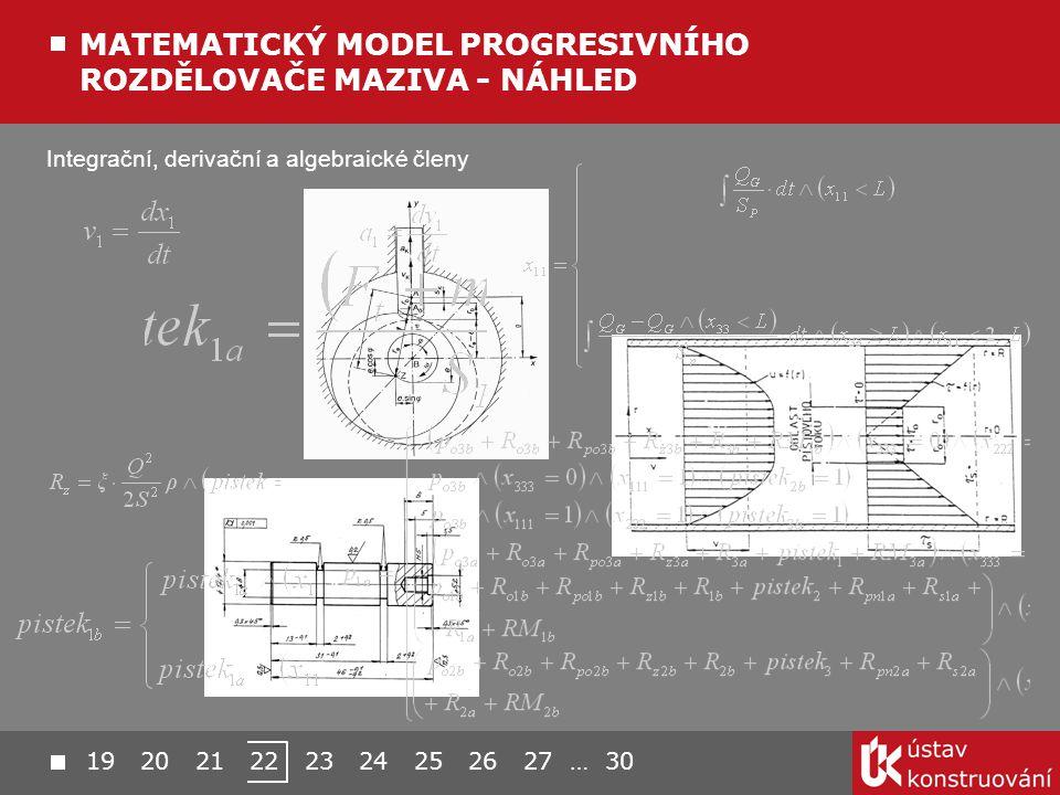 Integrační, derivační a algebraické členy MATEMATICKÝ MODEL PROGRESIVNÍHO ROZDĚLOVAČE MAZIVA - NÁHLED 19 20 21 22 23 24 25 26 27 … 30
