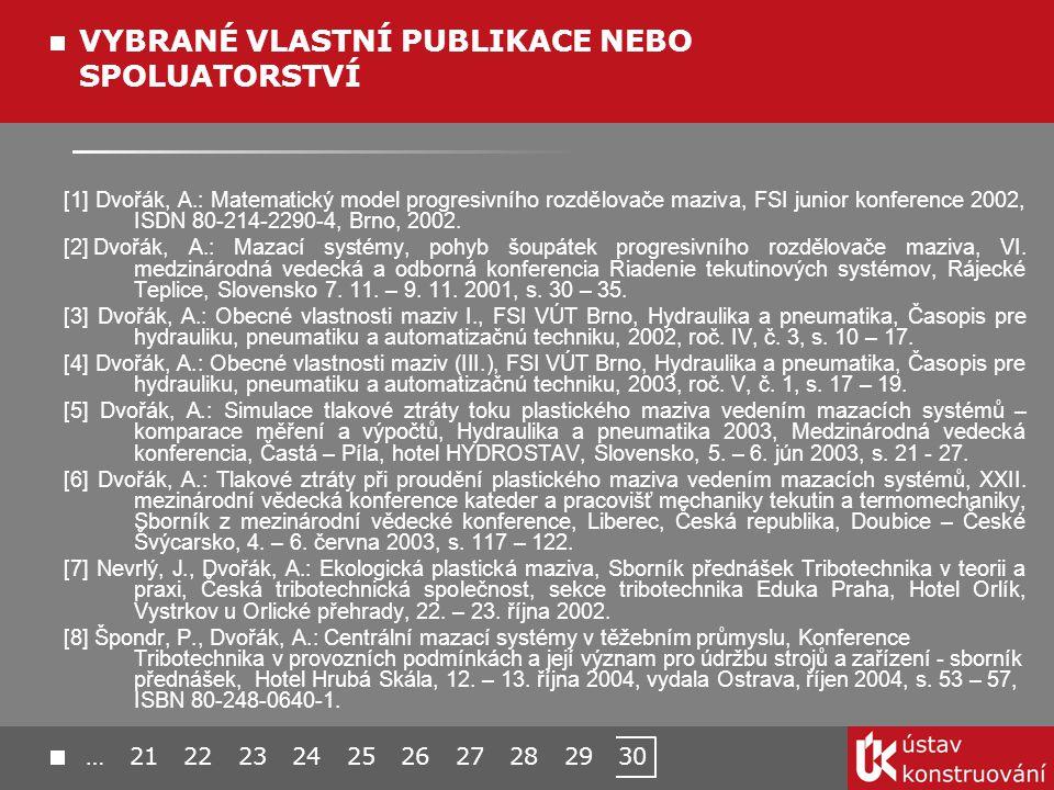 [1] Dvořák, A.: Matematický model progresivního rozdělovače maziva, FSI junior konference 2002, ISDN 80-214-2290-4, Brno, 2002.