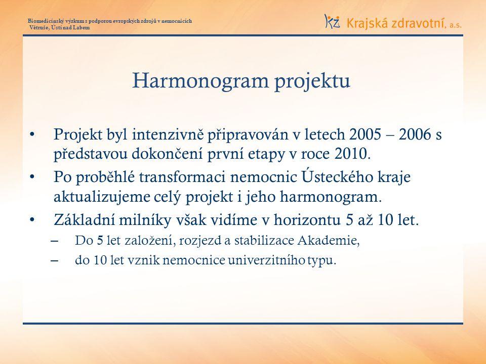 Biomedicínský výzkum s podporou evropských zdroj ů v nemocnicích V ě truše, Ústí nad Labem Harmonogram projektu Projekt byl intenzivn ě p ř ipravován v letech 2005 – 2006 s p ř edstavou dokon č ení první etapy v roce 2010.