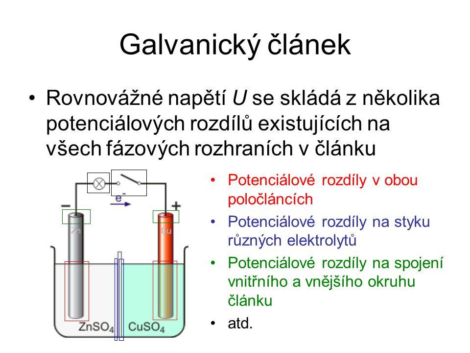Galvanický článek Rovnovážné napětí U se skládá z několika potenciálových rozdílů existujících na všech fázových rozhraních v článku Potenciálové rozd