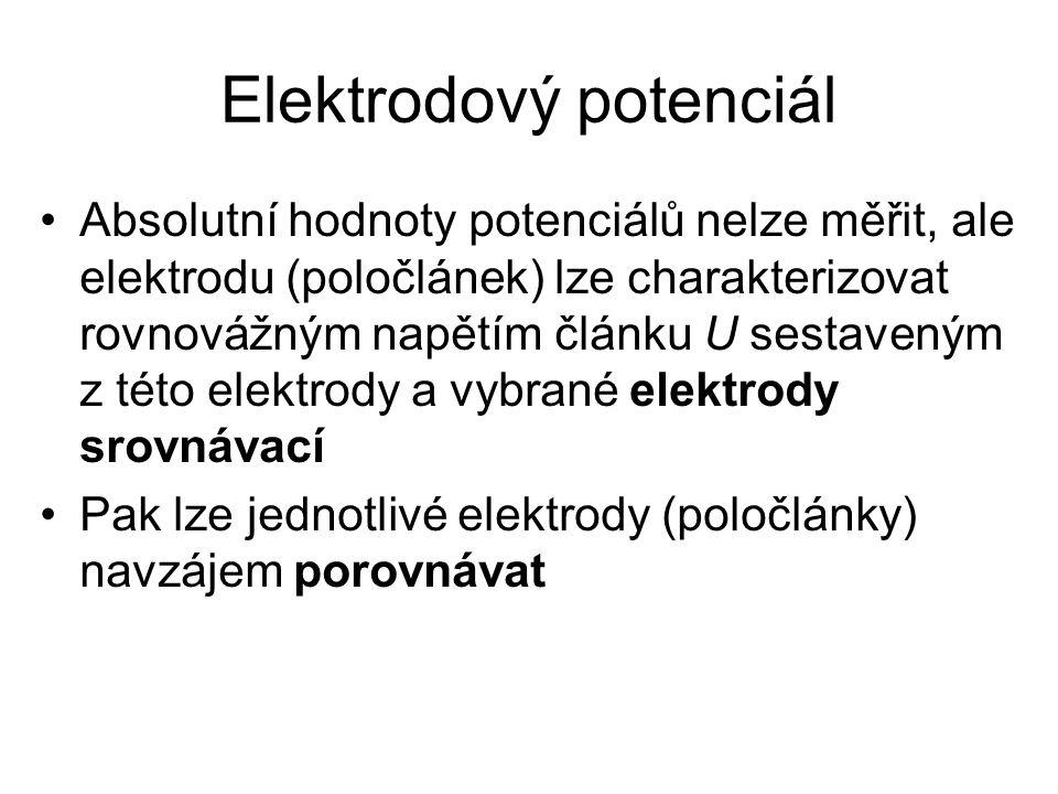 Elektrodový potenciál Absolutní hodnoty potenciálů nelze měřit, ale elektrodu (poločlánek) lze charakterizovat rovnovážným napětím článku U sestaveným