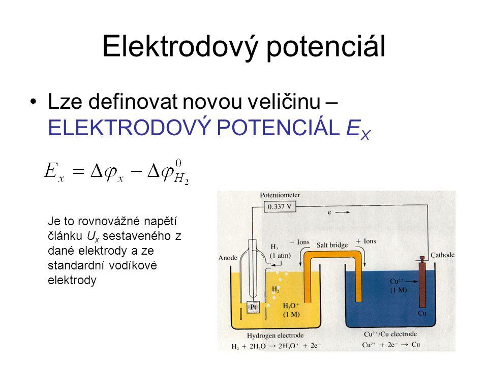 Elektrodový potenciál Lze definovat novou veličinu – ELEKTRODOVÝ POTENCIÁL E X Je to rovnovážné napětí článku U x sestaveného z dané elektrody a ze st