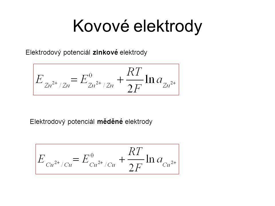 Kovové elektrody Elektrodový potenciál zinkové elektrody Elektrodový potenciál měděné elektrody