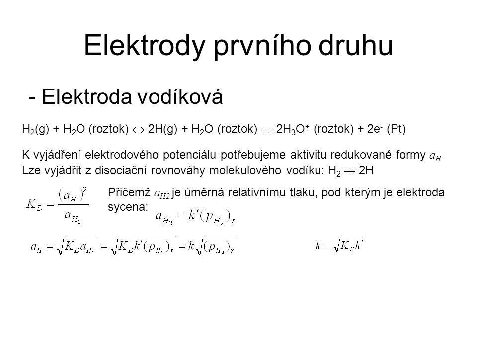 Elektrody prvního druhu H 2 (g) + H 2 O (roztok)  2H(g) + H 2 O (roztok)  2H 3 O + (roztok) + 2e - (Pt) - Elektroda vodíková K vyjádření elektrodové