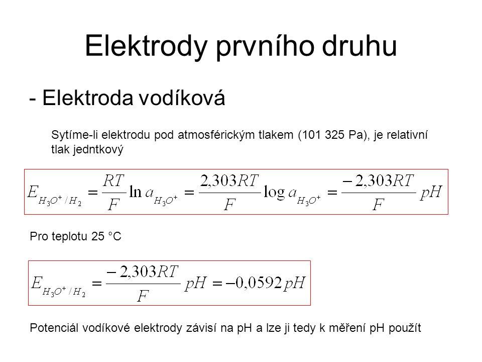 Elektrody prvního druhu - Elektroda vodíková Sytíme-li elektrodu pod atmosférickým tlakem (101 325 Pa), je relativní tlak jedntkový Pro teplotu 25 °C