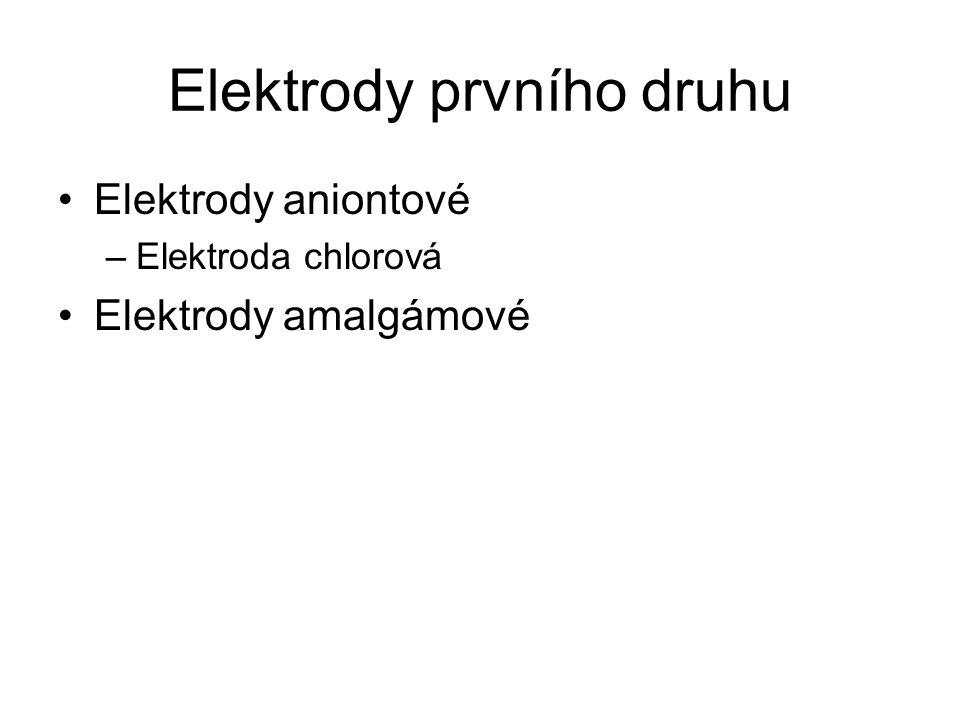 Elektrody prvního druhu Elektrody aniontové –Elektroda chlorová Elektrody amalgámové