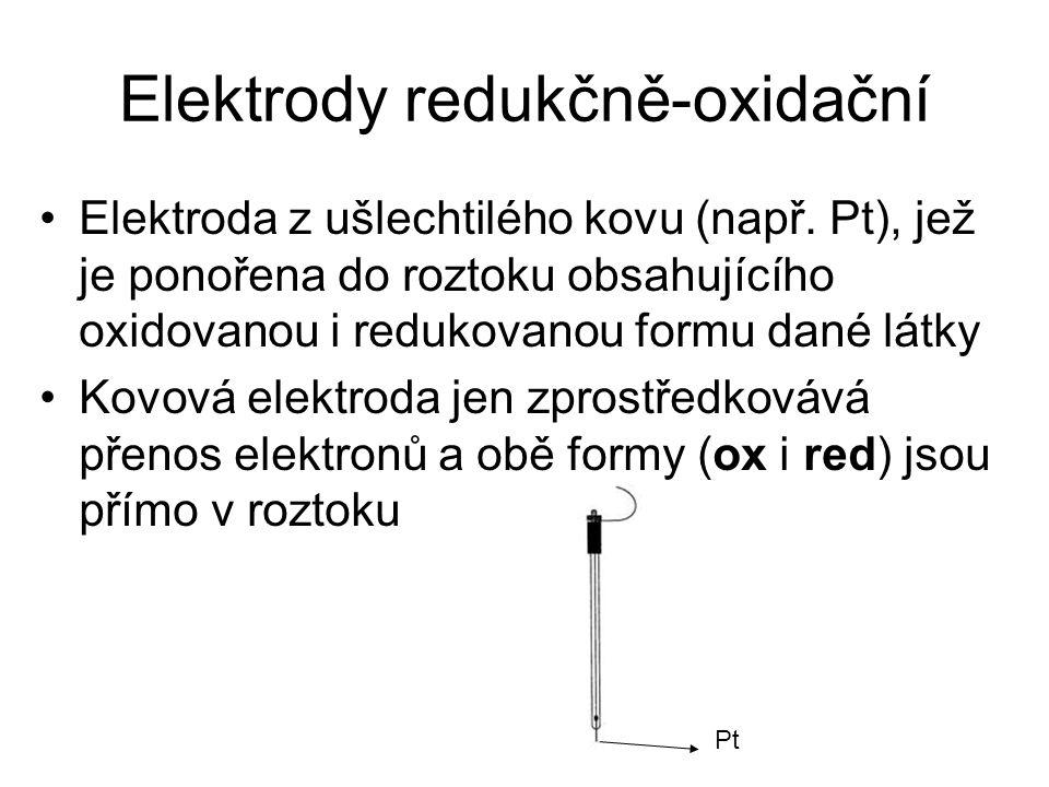 Elektrody redukčně-oxidační Elektroda z ušlechtilého kovu (např. Pt), jež je ponořena do roztoku obsahujícího oxidovanou i redukovanou formu dané látk