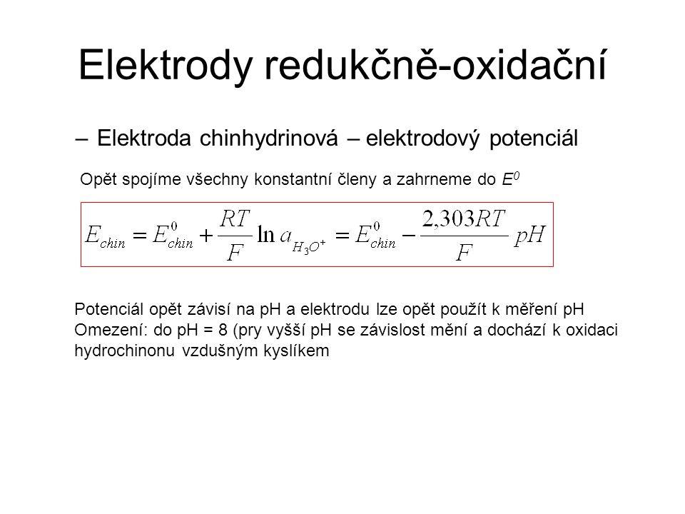 Elektrody redukčně-oxidační –Elektroda chinhydrinová – elektrodový potenciál Opět spojíme všechny konstantní členy a zahrneme do E 0 Potenciál opět zá